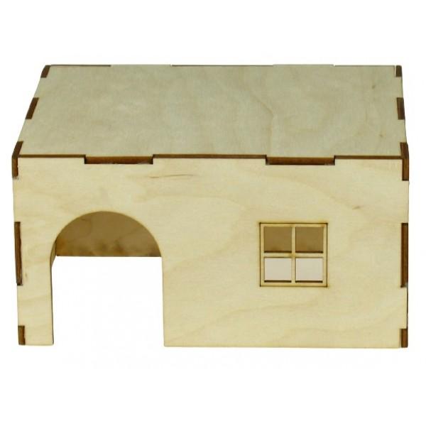 Domček drevený pre hlodavce 19x18,5x17,5cm