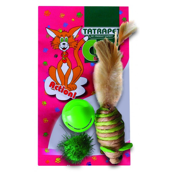 Hračka pre mačku mix 3,5-6,3cm/3ks