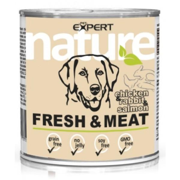 Konzerva pre dospelého psa,kuracina s lososom a králikom,800g nature PET EXPERT