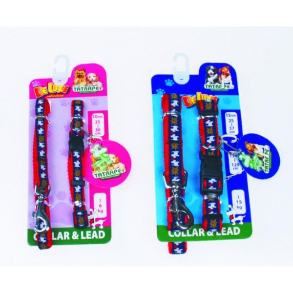 Obojok+vodítko 1,0x25-30cm/1,0x120cm DE LUXE collection