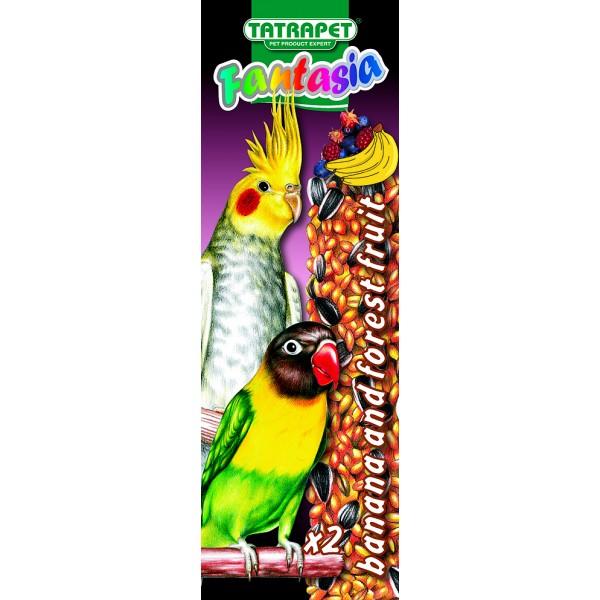 Tyčinky pre papagáje banán/lesné ovocie 2ks Fantasia