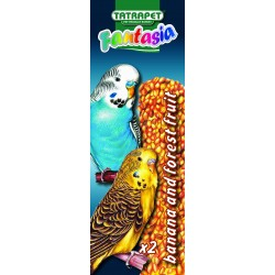 Tyčinky pre andulky lesné ovocie/banán 2ks Fantasia